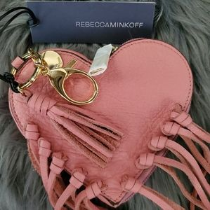 REBECCA MINKOFF LEATHER HEART FRINGE POUCH